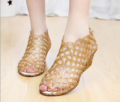 Bling New Womens Casual Sandal Summer Jelly Peep Toe Hollow Out Wedge Heels Shoe