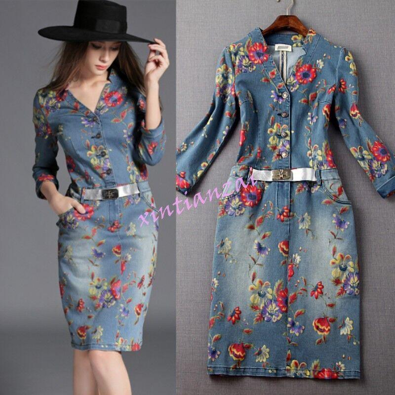 Flower Womens Belt Washed Denim Slim Fit Jean Dresses Floral Printed Half Sleeve