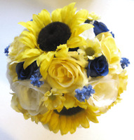 Wedding Silk Flower Bouquet 17pc Bridal Package Yellow Sunflower Navy Blue Bride