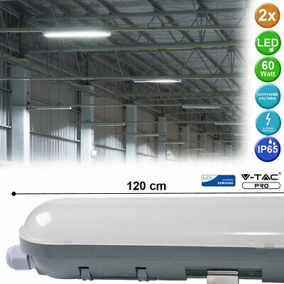 LED 60 Watt Decken Außen Wannen Lampe Feucht Raum Tageslicht Leuchte 7200 Lumen