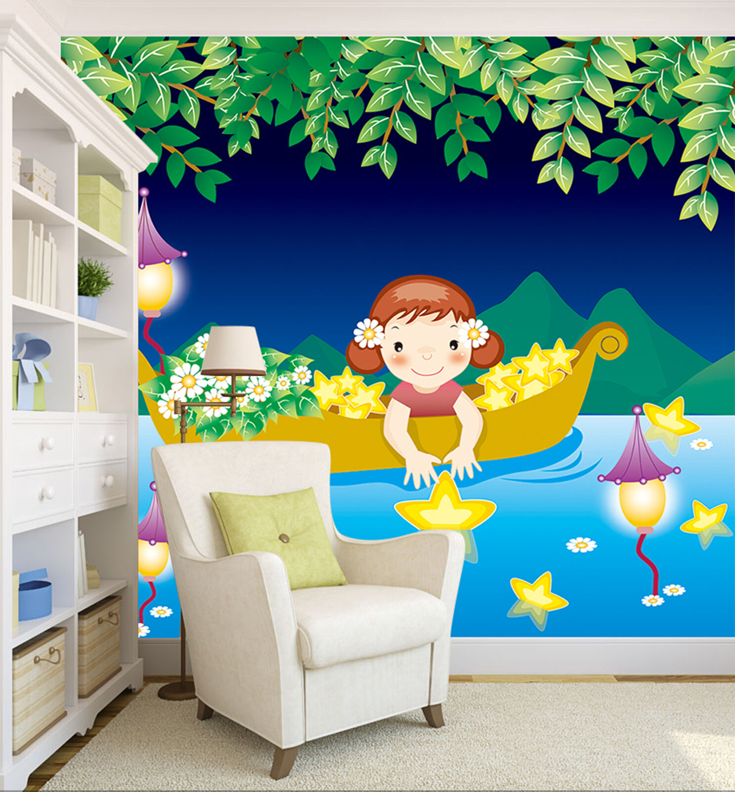 3D vessel Cartoon star Wall Paper Print Decal Wall Deco Indoor wall Mural