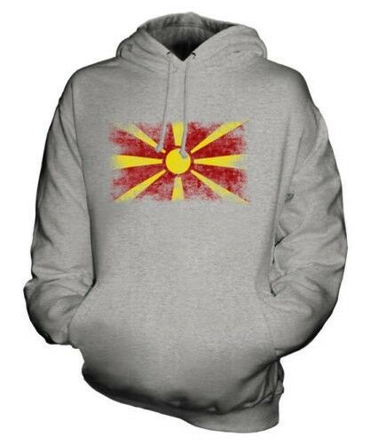 Mazedonien Distressed Flagge Unisex Kapuzenpulli Top Makedonija Fußball