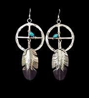 Sterling Silver Medicine Wheel Earrings - Navajo Handmade
