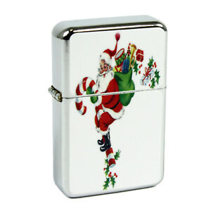 Refillable Oil Windproof Flip Top Lighter Christmas Candy Cane Santa Retro Vntg