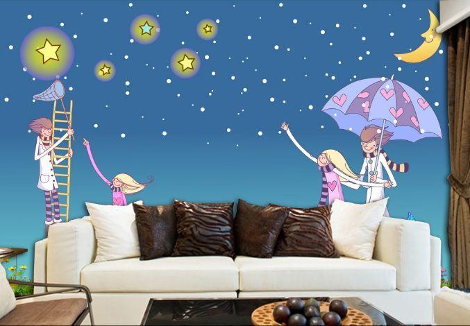 3D Nachthimmel  Begleiter  Fototapeten Wandbild Fototapete BildTapete Familie DE