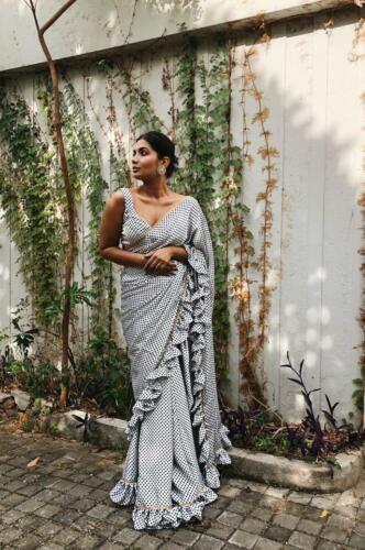 Partywear Georgette Saree Ethnic Bollywood Designer Wedding Ruffle Border Sari J