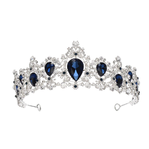 BRAND NEW SILVER CROWN/TIARA WITH SAPPHIRE BLUE CRYSTALS, BRIDAL OR RACING