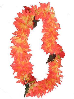 Hawaiian Party Luau Lei Polynesian Hibiscus Hawaii Flower ORANGE Necklace