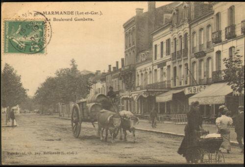 47 MARMANDE CARTE POSTALE BOULEVARD GAMBETTA 1907