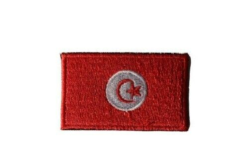 Tunisia National Flag Embroidered  Iron on Sew On Patches Badges 3.5x6cm
