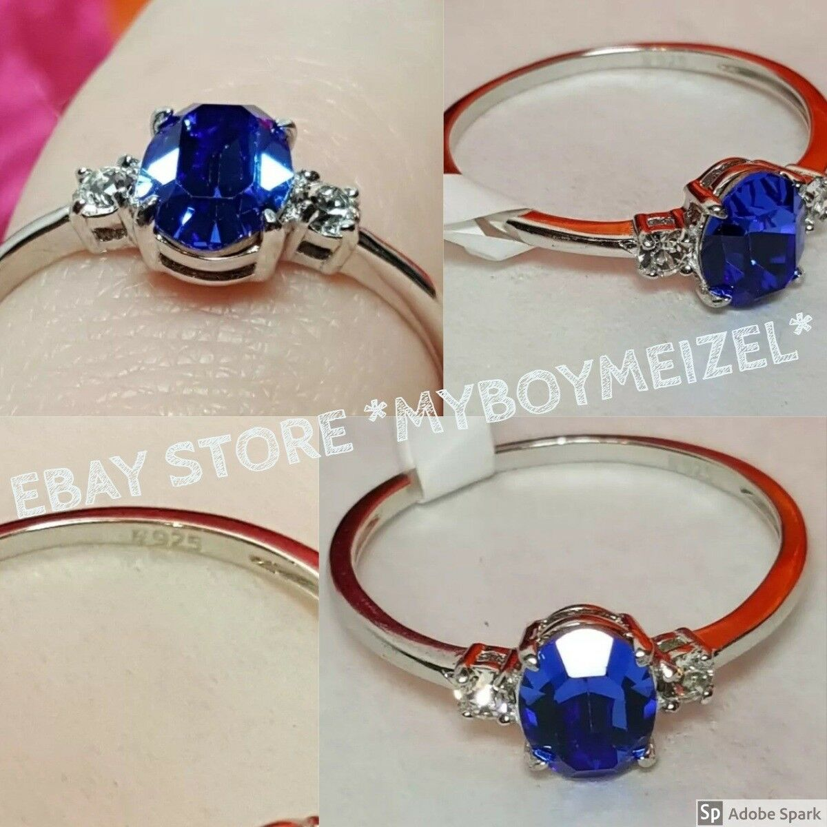 Fragrant Jewels Satin Infinity .925 Sterling Swarovski Royal bluee Oval Size 10