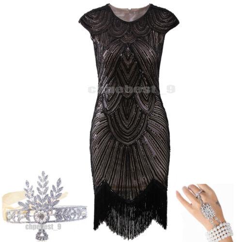 1920s Flapper Dresses Great Gatsby Sequin Beaded Fringe Dress Art Deco Plus Size