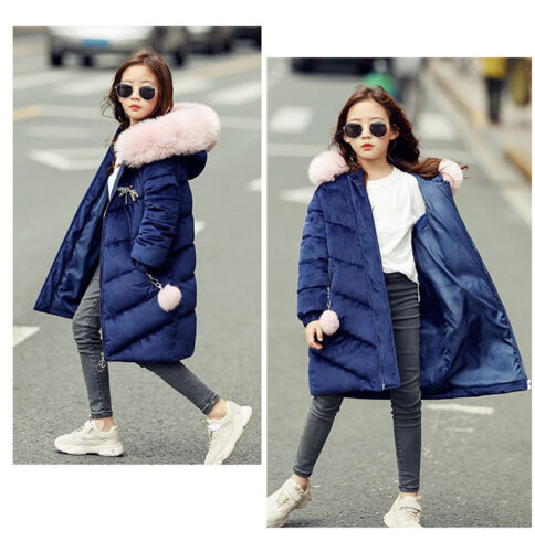 Girls Kids Thick Coat Sweet Fur Collar Hooded Jacket Down Long Parka Overcoats