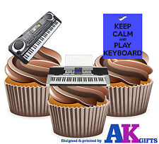 Mantener la calma y jugar Teclado Mix 12 Comestibles Stand Up Cup Cake Toppers Decoración