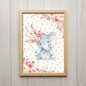 Details zu Babyzimmer Deko Mädchen Boho Elefant Kinderbilder Tiere Poster  Druck Wanddeko