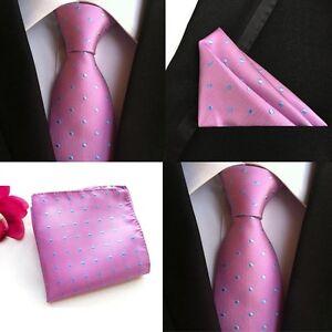 Men-Pink-Blue-Polka-Dots-Silk-Neck-Tie-Pocket-Square-Handkerchief-Set-Lot-HZ071