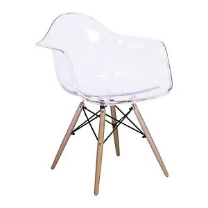 Image Is Loading Dining Room Side Arm Chair In Transparent Clear