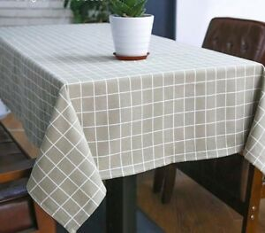 Linen-Table-Cloth-Country-Style-Plaid-Print-Multifunctional-Rectangle-Covers-New