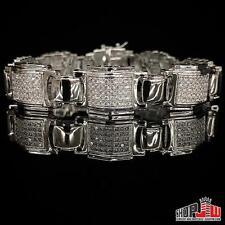 Mens White Gold Plated Simulated Diamond Bracelet Hip Hop Chunky Link Box Pave