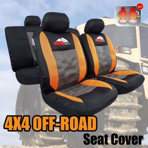 New 4X4 Off-Road Breathable Mesh Orange Black Car Seat Covers For TRD Racing