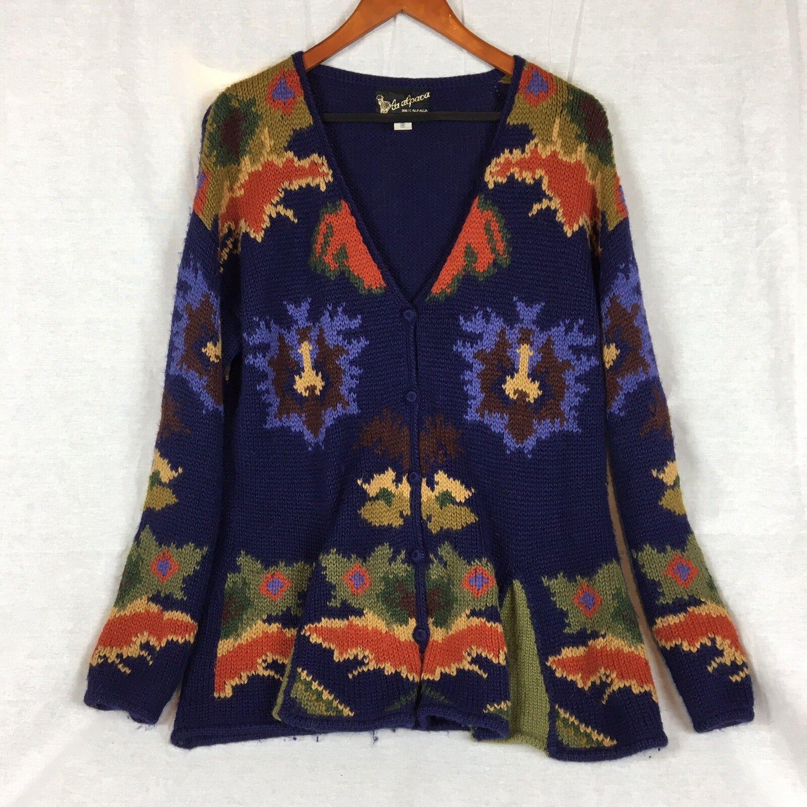 Beautiful La Alpaca Alpaca Alpaca 100% ALPACA Cardigan Sweater Size Medium Hand Loomed In Peru ec98b6
