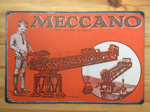 Poster MECCANO toys RARE Metal Vintage Style Retro Tin Sign