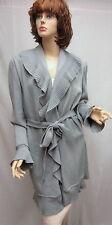 St John Knit COLLECTION NWT Steel Grey Kelly COAT Jacket Ruffle SZ 16  18