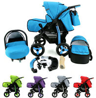 Baby Pram Buggy Pushchair Stroller Dynamic+ Car Seat + Carrycot Poussette