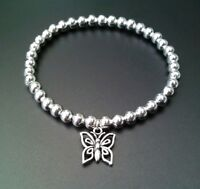 Simple Silver Ball Beaded Butterfly Charm Surfer Stretchy Bracelet Bangle