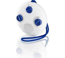 LOGIK LSR16 PORTABLE ANALOGUE BATHROOM FM AM RADIO - WHITE & BLUE
