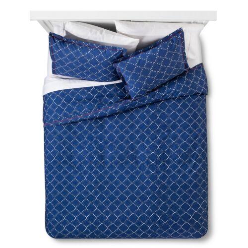 Brooklyn /& Bond Navy Blue Dotted Diamond Cotton Duvet Cover 2pc Set Full//Queen