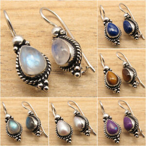 925-Silver-Plated-Rainbow-Moonstone-amp-Other-Gemstone-OXIDIZED-Earrings