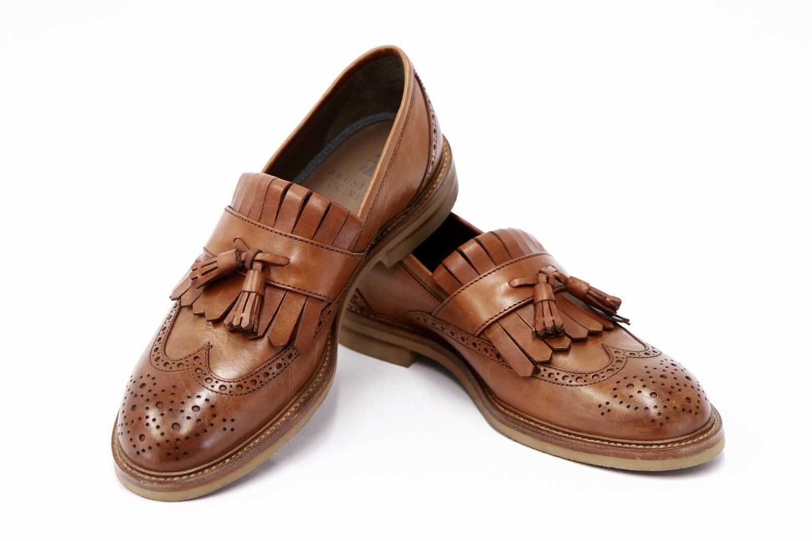 NWOB 1125 Brunello Cucinelli Uomo Pelle Perforated Wingtip Brogue Tassel Loafer
