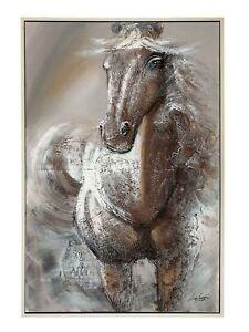 Riesen-Olgemaelde-Pferd-Pferde-Reiter-Reiten-Gemaelde-Bild-mit-Rahmen-124x84cm