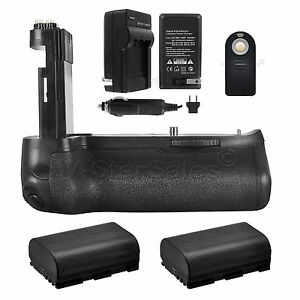 Vivitar Battery Grip for Canon 80D  + 2x LP-E6 Batteries + Charger + Remote