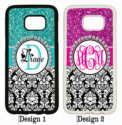 PERSONALIZED TEAL PINK DAMASK MONOGRAM PHONE Case For Samsung Galaxy S8 S7 NOTE