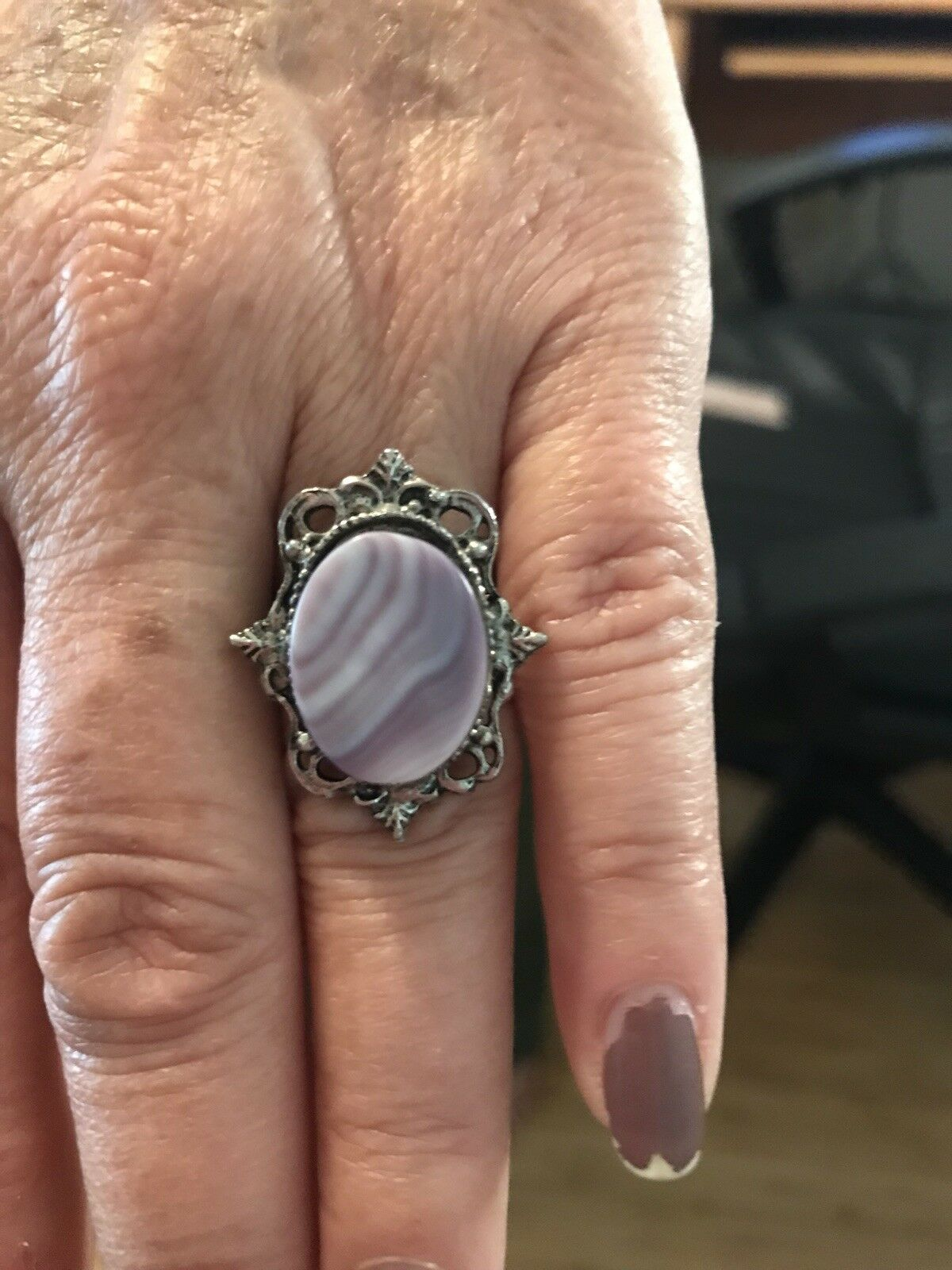 Gorgeous pink, coriside stone ring. Sizable. Possibly pewter