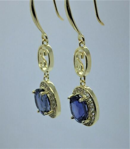 Details about  /3.35 ct Ceylon Blue Sapphire Yellow Gold Plate on Sterling Halo Earrings