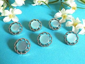 1261B-Stunning-Buttons-034-Candy-Crush-034-Blue-Silver-Set-of-6-Buttons-Ep-1950
