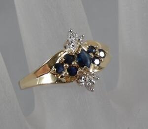 Estate-10-Karat-Yellow-Gold-Diamond-amp-Sapphire-Ring-Size-7-10K-F0064