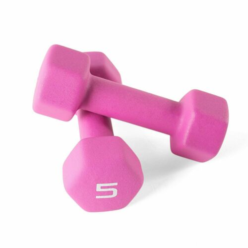 CAP Dumbbell Weights Set Barbell Neoprene Coated 5 Lb Pound Pink 2 Set