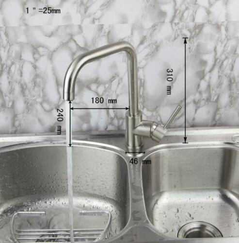 EUB Deck Mounted Chrome Kitchen Faucet Swivel Basin Sink Mixer Single Handle Tap