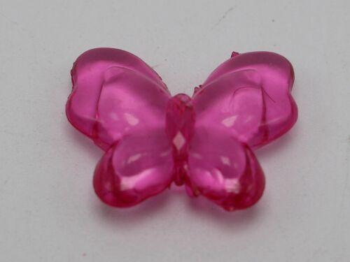 """50 Couleurs Mélangées Acrylique Transparent Lisse Papillon Perles 22X18mm 0.87/""""X0.71/"""""""