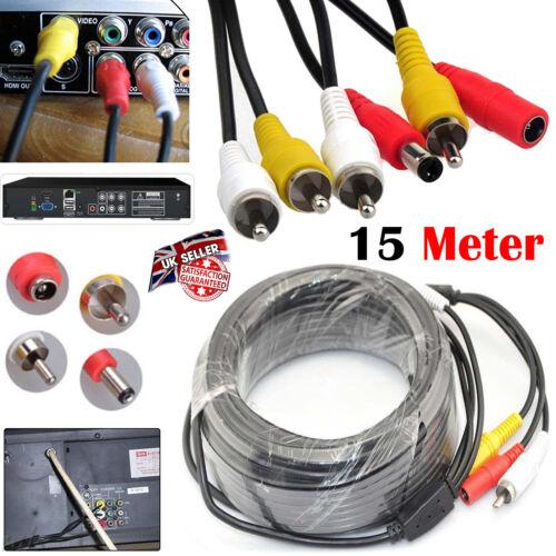 5m 50M CCTV Security DVR Camera Phono RCA AV Audio Video DC Power Cable Lead