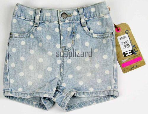 New Baby Girl OshKosh b/'Gosh Denim Shorts Polka Dot NWT Size 18m 2T 3T 4T