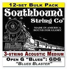 "12pack Cigar Box Guitar Strings: 3-string Acoustic Med ""Low Open G"" GDG 34-10-02"