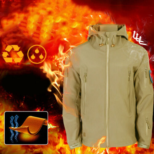Waterproof Winter Mens Outdoor Jacket Tactical Coat Soft Shell Military JackeVX