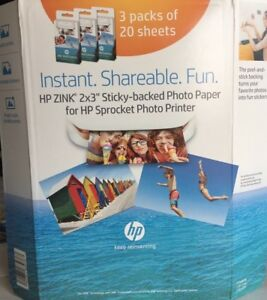 Details about HP Zink Sprocket Sticker Sticky Back Photo Paper 3 Pack -  Brand New!