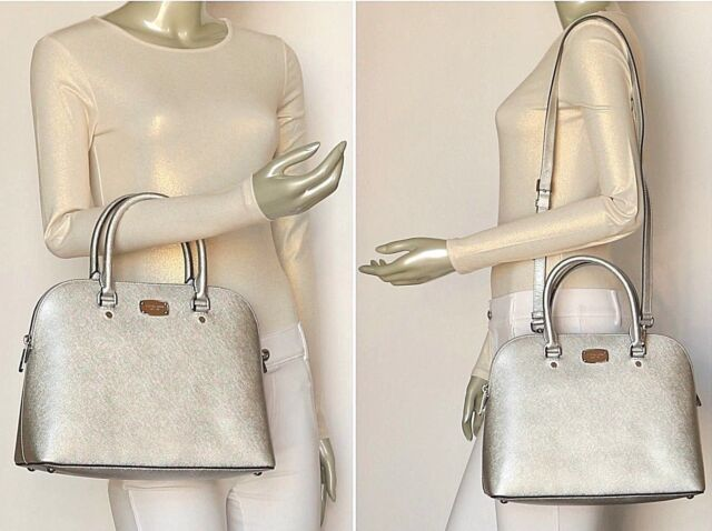 51ef624db3c2 Michael Kors Saffiano Leather Cindy Large Dome Satchel Bag in Silver ...