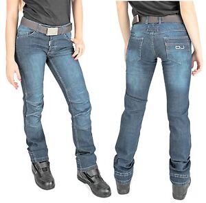 AgréAble Jeans Moto Oj Donna Venere Blue Lady Moto Elasticizzato Protezioni Omolol Tg 42